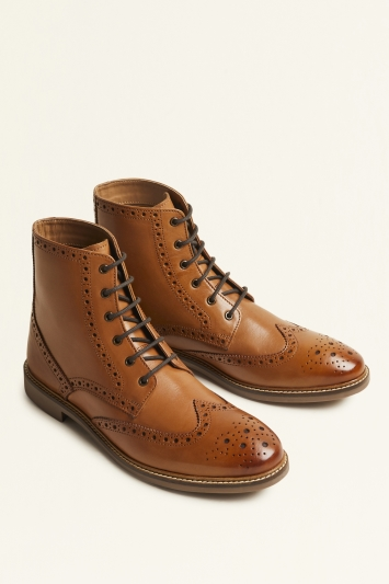 Moss London Belmont Tan Brogue Boot