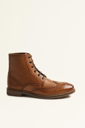 Moss London Belmont Tan Brogue Boot