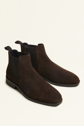 Moss London Seaford Dark Brown Suede Chelsea Boot