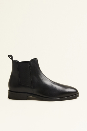 Moss London Seaford Black Leather Chelsea Boot