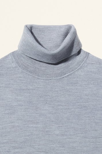 Silver Merino-Blend Roll-Neck Jumper