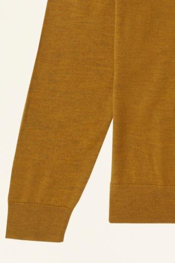 Moss Bros Mustard Merino-Blend Roll-Neck Jumper