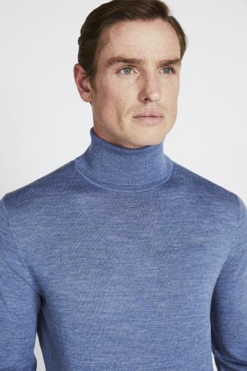Blue Fog Merino Roll-Neck Jumper