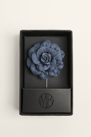Moss Bros. Navy Flower Lapel Pin