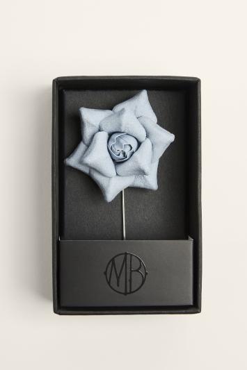 Moss Bros. Dusty Blue Flower Lapel Pin