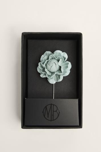 Moss Bros. Sage Green Flower Lapel Pin