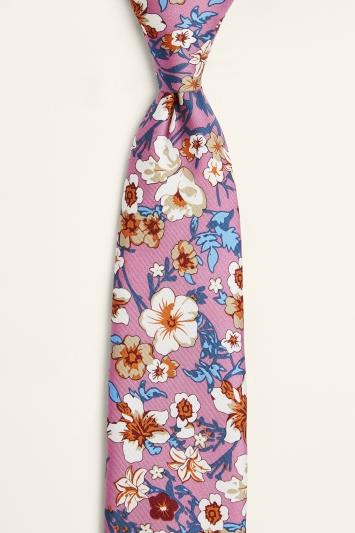 Moss 1851 Pink & Blue Floral Print Silk Tie