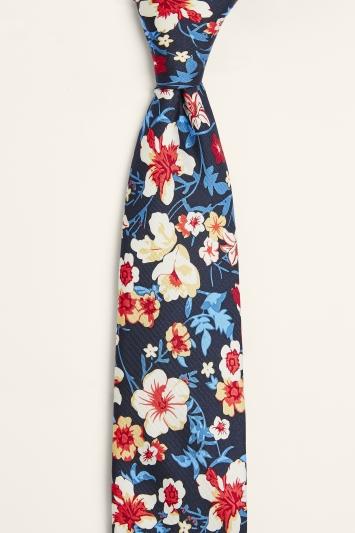Moss 1851 Navy & Red Floral Print Silk Tie