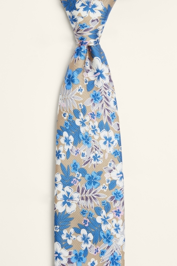 Moss 1851 Taupe & Lilac Floral Print Silk Tie