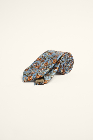 Moss 1851 Teal, Coral & Blue Floral Print Silk Tie