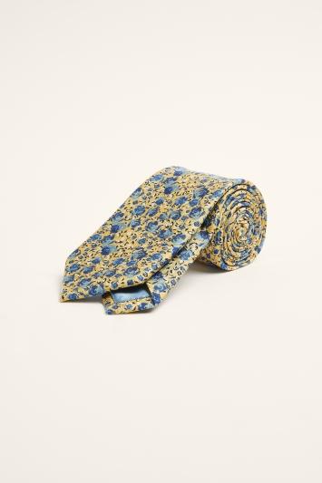 Moss 1851 Yellow & Blue Floral Print Silk Tie