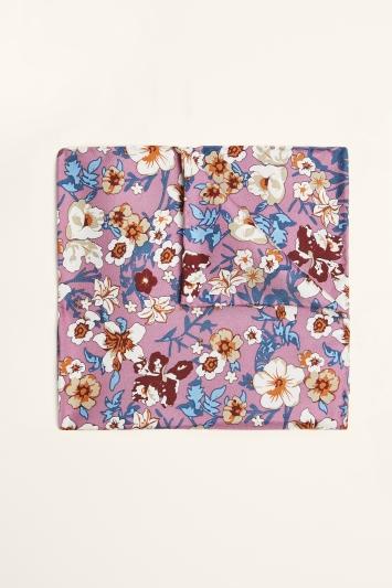 Moss 1851 Pink & Blue Floral Print Pocket Square