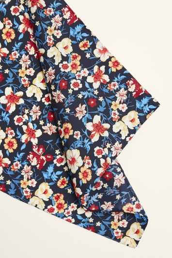 Moss 1851 Navy & Red Floral Print Pocket Square