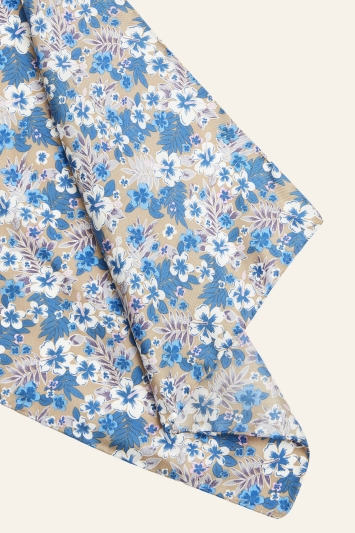 Moss 1851 Taupe & Lilac Floral Print Pocket Square