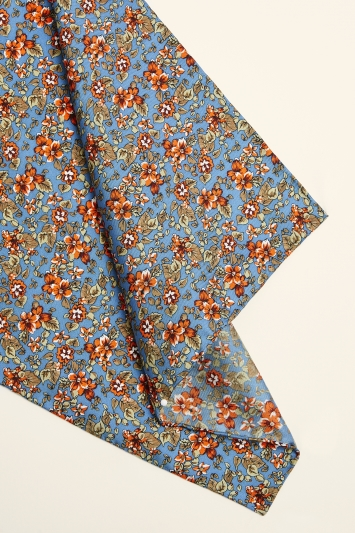 Moss 1851 Teal, Coral & Blue Floral Print Pocket Square