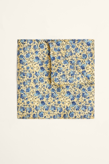 Moss 1851 Yellow & Blue Floral Print Pocket Square