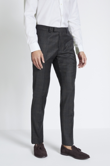 Moss 1851 Performance Tailored Fit Grey Check Trousers