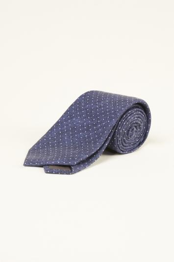 Bottinelli Navy with White Pin Dot Print Silk Tie