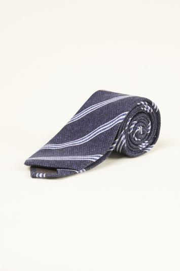 Bottinelli Navy with White Stripe Print Silk Tie