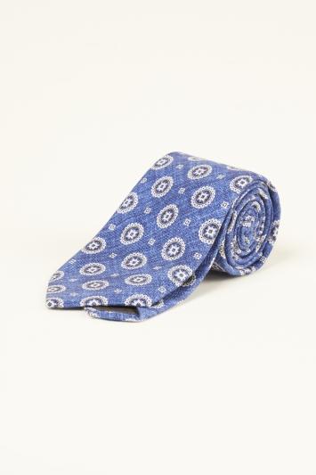 Bottinelli Blue Medallion Print Silk Tie