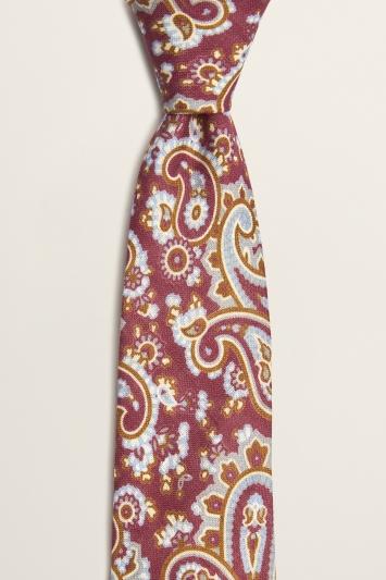 Moss 1851 Burgundy with Sky & Camel Paisley Print Italian Linen Tie