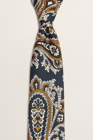 Moss 1851 Navy with Bronze Paisley Print Italian Silk Tie