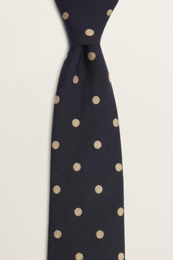 Moss 1851 Navy with Taupe Spot Print Italian Silk Tie