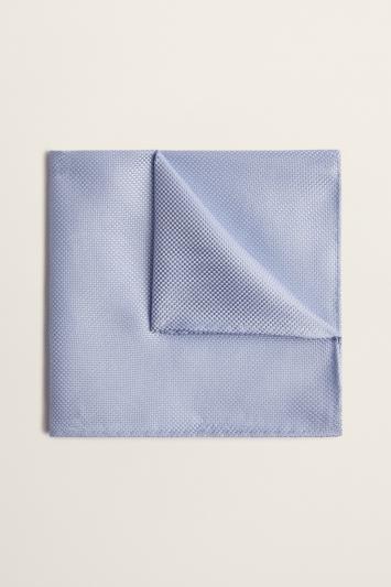 Moss 1851 Sky Blue Plain Natte Silk Pocket Square