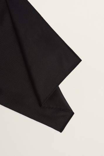 Moss 1851 Black Plain Natte Silk Pocket Square
