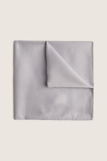 Moss 1851 Silver Plain Natte Silk Pocket Square