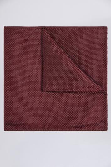 Moss 1851 Burgundy Plain Natte Silk Pocket Square