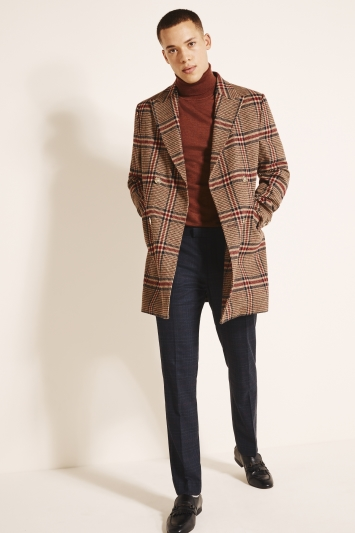 Moss London Slim Fit Tan & Red Check Double Breasted Overcoat