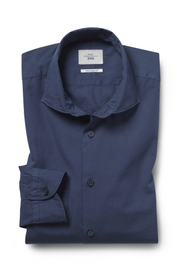 Moss 1851 Tailored Fit Navy Single Cuff Garment Dye Shirt