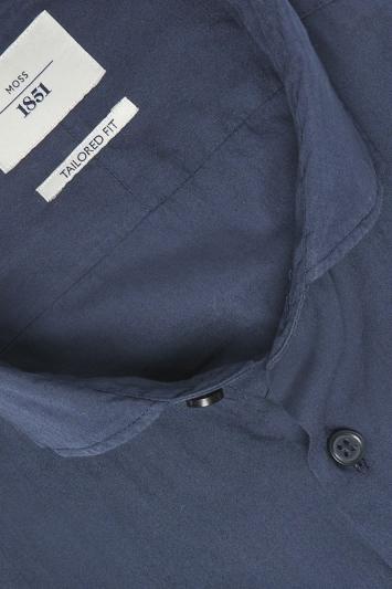 Moss 1851 Tailored Fit Navy Single Cuff Garment Dye Shirt
