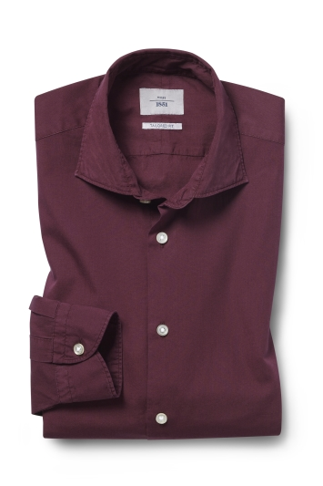Moss 1851 Tailored Fit Berry Single Cuff Garment Dye Shirt