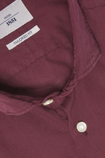 Moss 1851 Tailored Fit Berry Single Cuff Garment Dye Shirt
