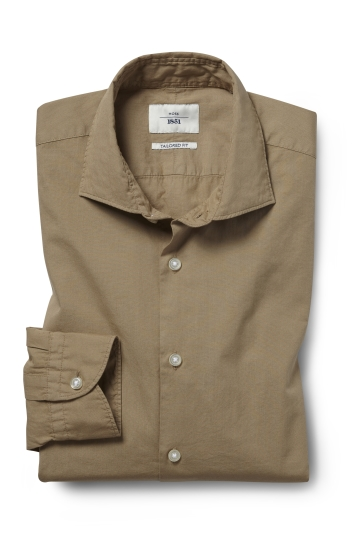 Moss 1851 Tailored Fit Camel Single Cuff Garment Dye Shirt