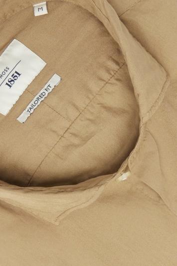 Moss 1851 Tailored Fit Camel Single Cuff Garment Dye Shirt