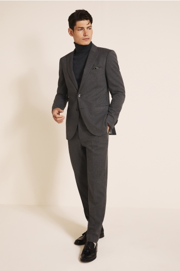 French Connection Slim Fit Charcoal Flannel Jacket