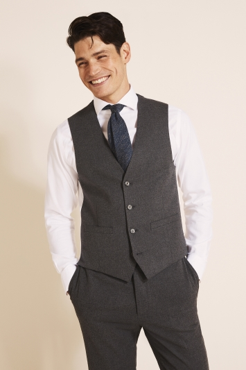 French Connection Slim Fit Charcoal Flannel Waistcoat