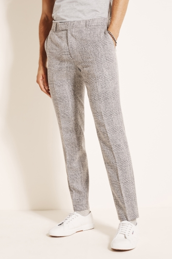 Moss London Slim Fit Grey Boucle Check Trousers