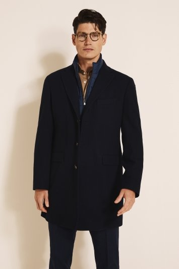 Moss 1851 Tailored Fit Navy Epsom with Insert Overcoat