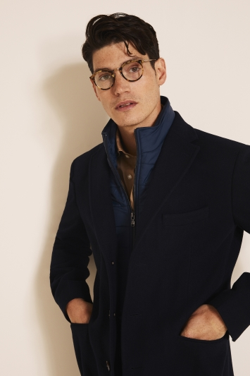 Tailored Fit Navy Epsom Overcoat