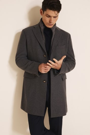 Tailored Fit Grey Epsom Overcoat