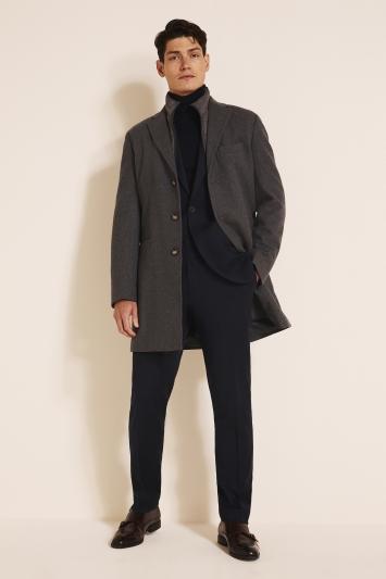 Tailored Fit Grey Epsom Overcoat