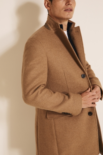 Moss 1851 Tailored Fit Camel Double Faced Overcoat