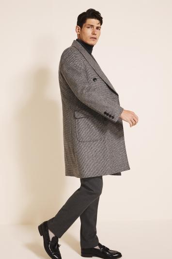 Slim Fit Grey Puppytooth Overcoat