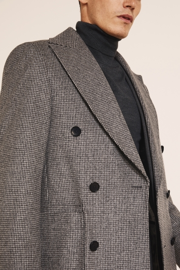 Moss London Slim Fit Italian Light Grey Puppytooth Double Breasted Overcoat