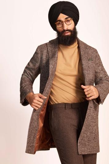 Barberis Taupe Herringbone Overcoat