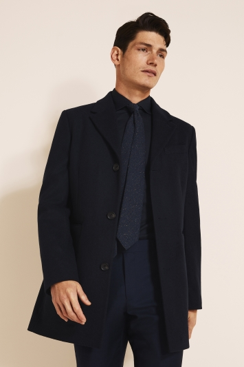 DKNY Slim Fit Navy Overcoat